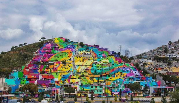Obra de arte na comunidade Las Palmitas, México.
